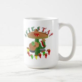 Fiesta Cactus with Guitar & Dancing Peppers Coffee Mug