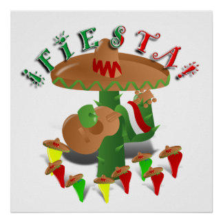 Fiesta Cactus with Guitar & Dancing Peppers Poster
