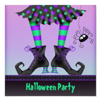 """Fiesta caprichoso de Halloween de las piernas de Invitación 5.25"""" X 5.25"""""""