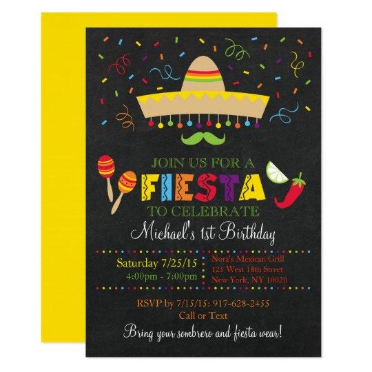 Fiesta chalkboard birthday invitation zazzle fiesta chalkboard birthday invitation filmwisefo