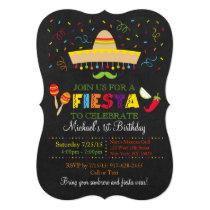 Fiesta Chalkboard Birthday Invitations