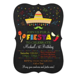 Fiesta Chalkboard Birthday Invitations