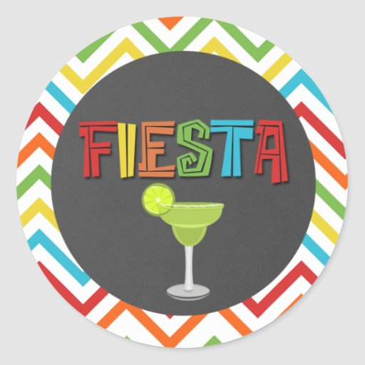 Fiesta Chalkboard Marguerita Glass Chevron Sticker