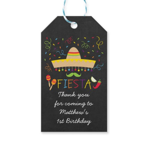 Fiesta Chalkboard Party Favor Gift Tags