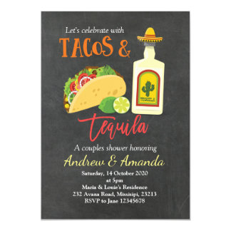 Fiesta Chalkboard Tacos and Tequila Invitation