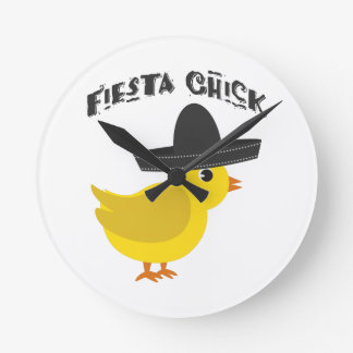 Fiesta Chick Round Clock