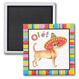 Fiesta Chihuahua 2 Inch Square Magnet
