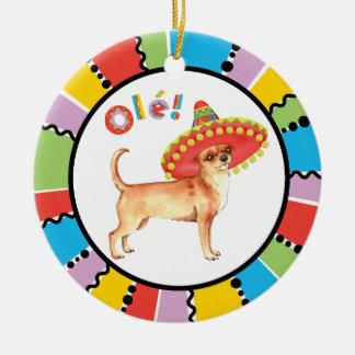 Fiesta Chihuahua Ceramic Ornament