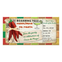 Fiesta Cinco De Mayo Boarding Pass Invitation