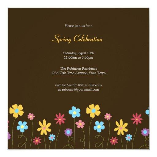 """Fiesta colorido de la celebración de la primavera invitación 5.25"""" x 5.25"""""""