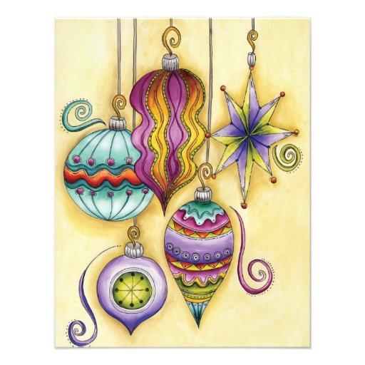Fiesta colorido de los ornamentos del navidad del  invitacion personalizada