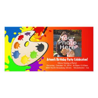 Fiesta colorido del arte del paladar tarjetas con fotos personalizadas