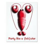 Fiesta como un rojo de Lobstar con las tenazas en Invitación 10,8 X 13,9 Cm