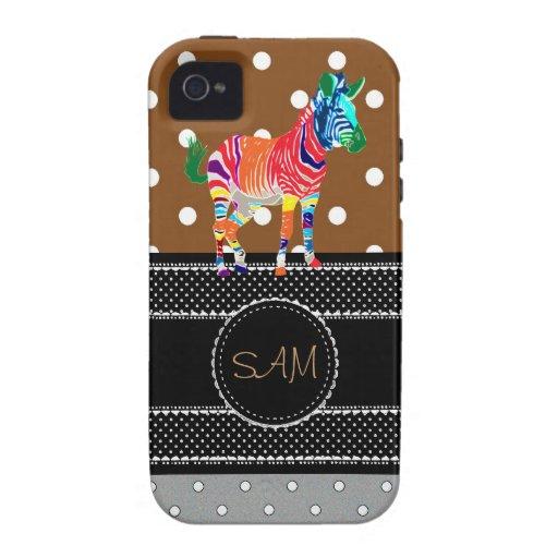 Fiesta con monograma del modelo de los animales de iPhone 4/4S fundas