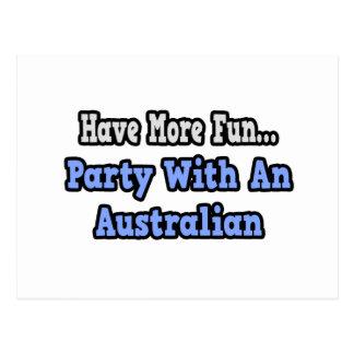 Fiesta con un australiano tarjeta postal