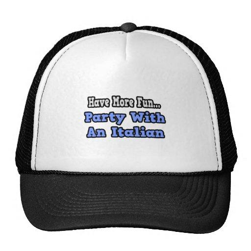 Fiesta con un italiano gorras de camionero