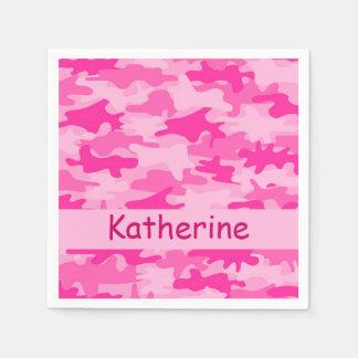 Fiesta conocido personalizado camuflaje rosado de servilletas de papel