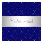 Fiesta corporativo azul de plata de los azules mar invitaciones personales