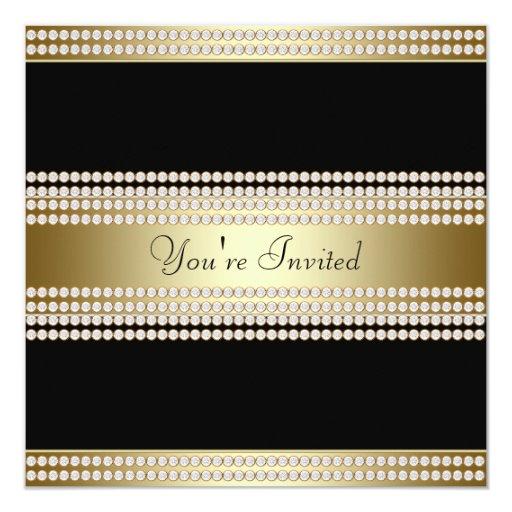 Fiesta corporativo del oro del fiesta negro del invitación 13,3 cm x 13,3cm