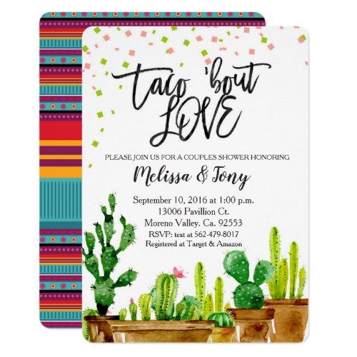 Fiesta Couples Shower Invitation Taco Bout Love