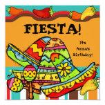 """Fiesta Customized  Birthday Invitations 5.25"""" Square Invitation Card"""