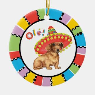 Fiesta Dachshund Ceramic Ornament