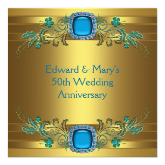 Fiesta de aniversario azul del boda del oro 50.o comunicado