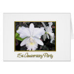 Fiesta de aniversario blanca quebradiza 15 de las tarjeta de felicitación