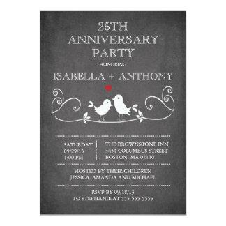 """Fiesta de aniversario de los pájaros del amor de invitación 5"""" x 7"""""""