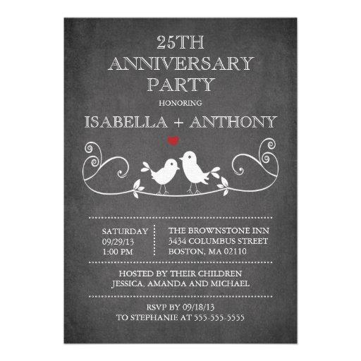 Fiesta de aniversario de los pájaros del amor de l anuncios personalizados