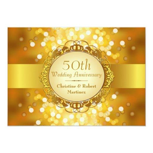 """Fiesta de aniversario de oro de Bokeh 50.o Invitación 5"""" X 7"""""""