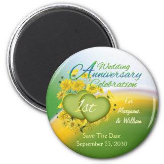 Fiesta de aniversario del boda de los corazones de imán redondo 5 cm
