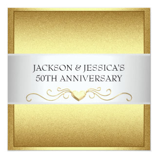Fiesta de aniversario elegante de los corazones invitación 13,3 cm x 13,3cm