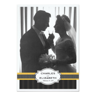 Fiesta de aniversario elegante del boda de la foto invitación 12,7 x 17,8 cm