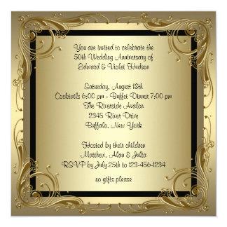 Fiesta de aniversario elegante del boda del oro invitación 13,3 cm x 13,3cm