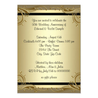 Fiesta de aniversario elegante del boda del oro invitación 12,7 x 17,8 cm