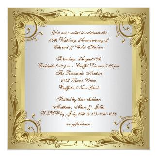 Fiesta de aniversario elegante del boda del oro invitaciones personalizada