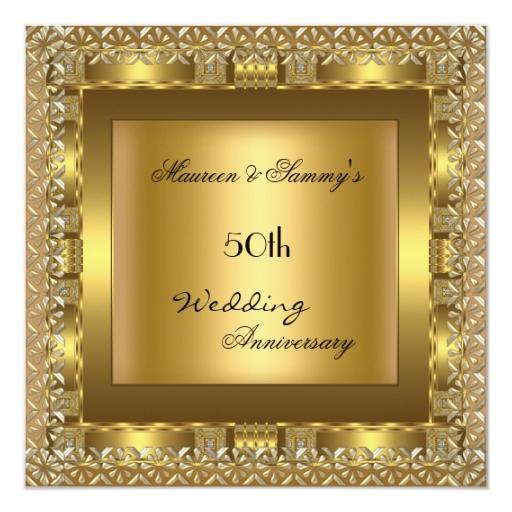 """Fiesta de aniversario elegante del boda del oro invitación 5.25"""" x ..."""