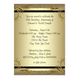 """Fiesta de aniversario elegante del boda del oro invitación 5"""" x 7"""""""