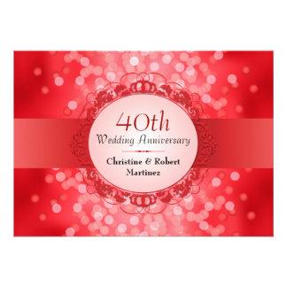 Fiesta de aniversario roja de rubíes de Bokeh 40 o Invitacion Personalizada