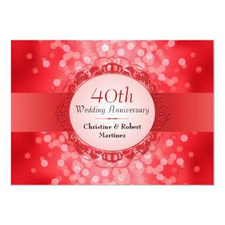 """Fiesta de aniversario roja de rubíes de Bokeh 40.o Invitación 5"""" X 7"""""""