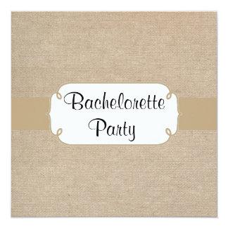 Fiesta de Bachelorette de la arpillera de la arena Invitación 13,3 Cm X 13,3cm