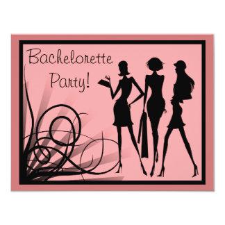"""Fiesta de Bachelorette de la silueta del vestido Invitación 4.25"""" X 5.5"""""""