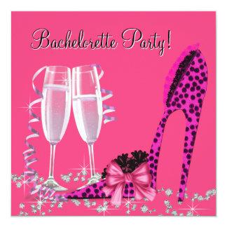 Fiesta de Bachelorette del tacón alto del leopardo Invitación 13,3 Cm X 13,3cm