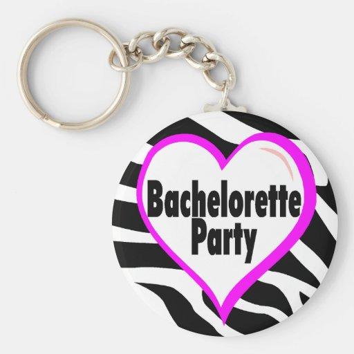 Fiesta de Bachelorette (estampado de zebra del cor Llavero
