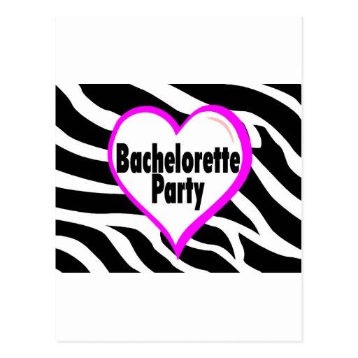 Fiesta de Bachelorette (estampado de zebra del Tarjeta Postal
