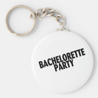 Fiesta de Bachelorette (negro inclinado) Llavero Redondo Tipo Pin
