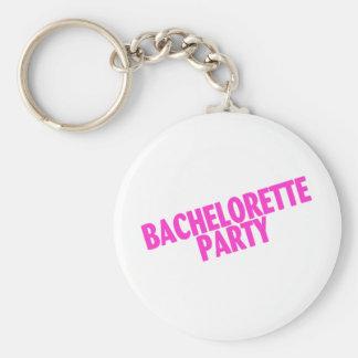 Fiesta de Bachelorette (rosa inclinado) Llavero Redondo Tipo Pin