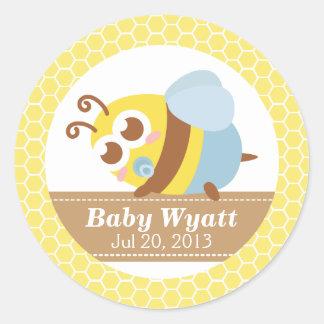 Fiesta de bienvenida al bebé: Abeja linda del bebé Pegatina Redonda