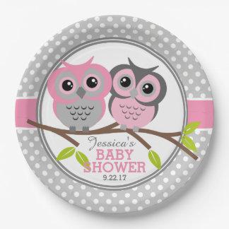 Fiesta de bienvenida al bebé adorable de los búhos plato de papel de 9 pulgadas